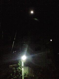 月を見上げながら歩く