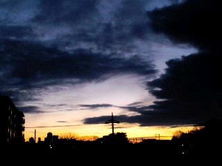 ベランダから見える朝焼け