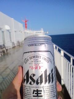 帰京、甲板で乾杯!